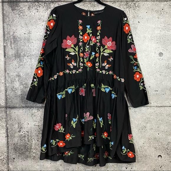 Zara // Black Floral Embroidered Dress
